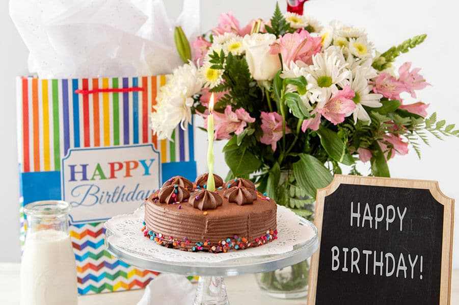 Birthday Package with flowers, cake and milk