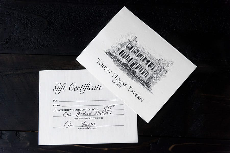 Tousey House gift certificate