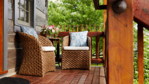 chairs on the lodge patio